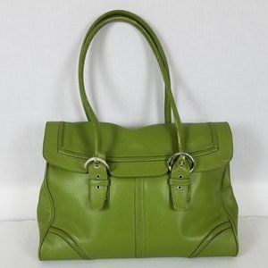 Franklin Covey Leather Work Tote Satchel - Green